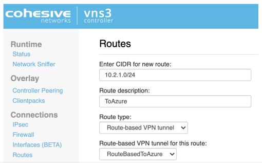 VNS3 Ipsec routes