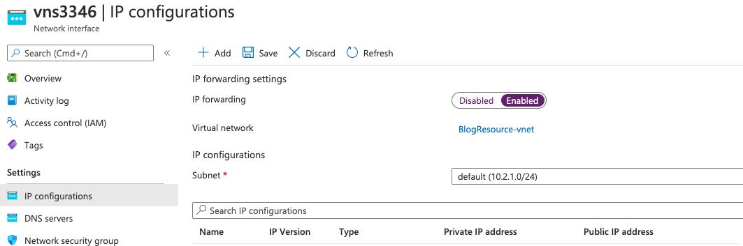 Azure enable IP forwarding