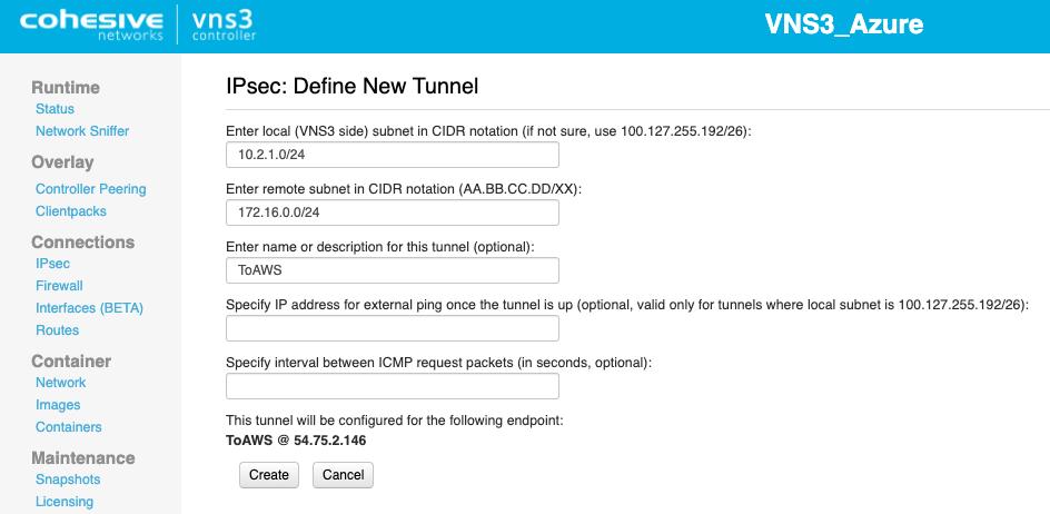 VNS3 Azure Tunnel