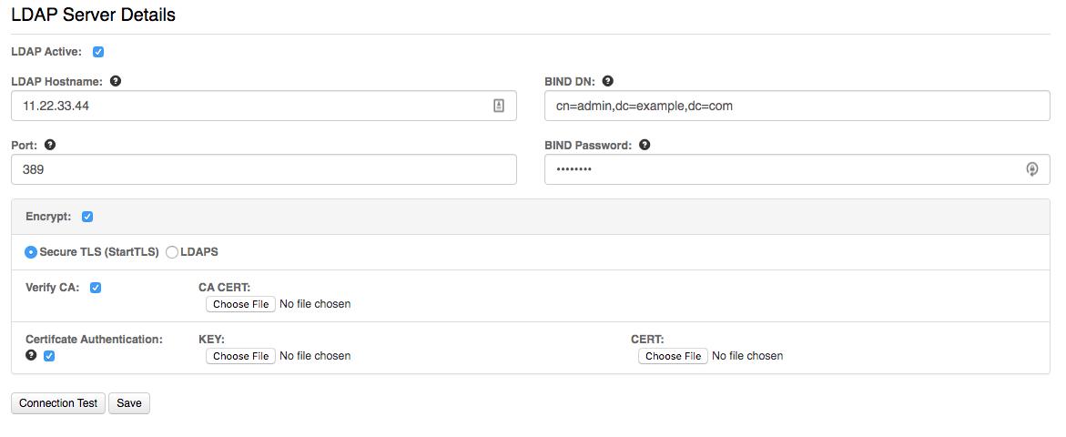 VNS3 LDAP integration page