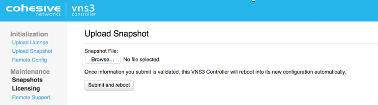 How to: Configure a new VNS3 Controller from a Snapshot